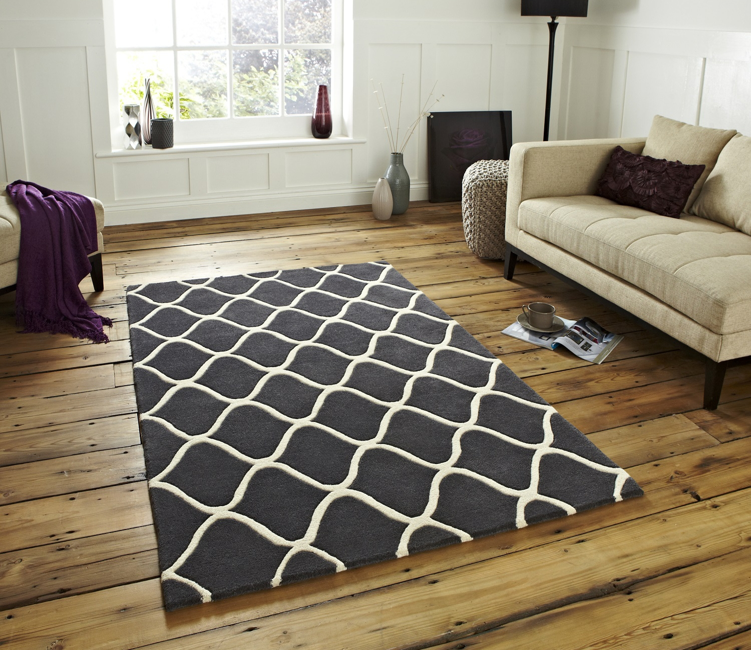 Wave Design Hand Tufted 100 Wool Rug Contemporary Home Decor In Large Wool Rugs (Image 15 of 15)