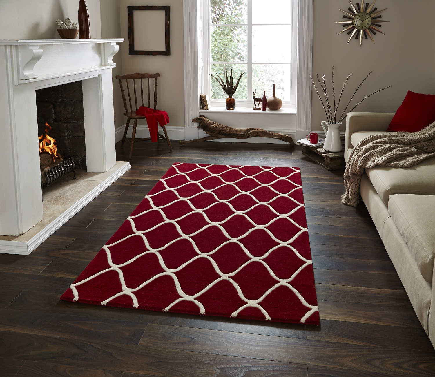Wave Design Hand Tufted 100 Wool Rug Contemporary Home Decor With Regard To Large Red Rugs (Image 14 of 15)
