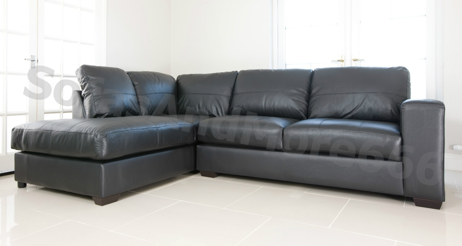 Westpoint Corner Sofa In Black Real Leather Left Hand Side Pocket With Corner Sofa Leather (Image 15 of 15)