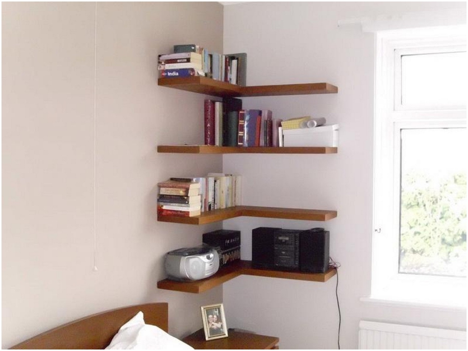 White Floating Corner Shelf Uk Image Of Stylish White Corner Small In Corner Shelf For Dvd Player On Wall (View 12 of 15)