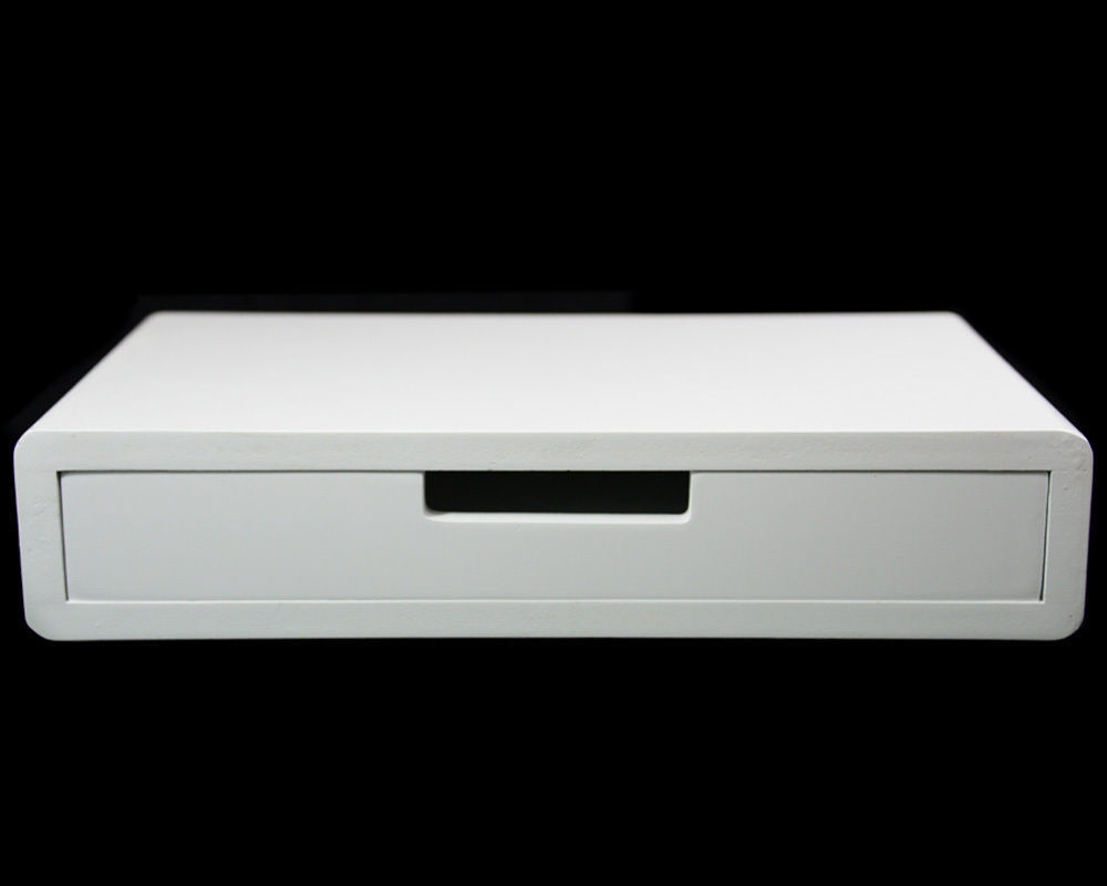 White Floating Shelf Drawer Wall Cube Display Storage Shelving With Regard To Floating Shelf 40cm (Image 15 of 15)