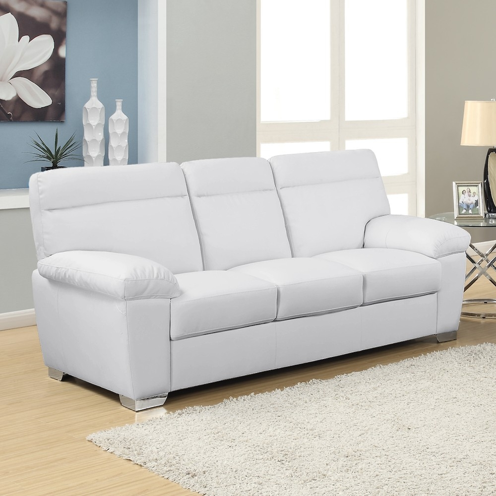 White Leather Sofas With 3 Seater Leather Sofas (Image 15 of 15)