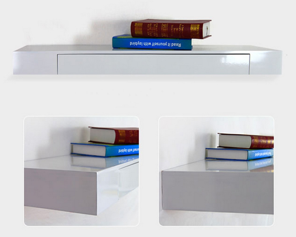White Matt Floating Drawer Shelf Pertaining To Floating Shelf 100cm (Image 15 of 15)