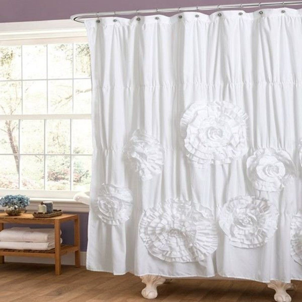 White Ruffle Shower Curtain New Pottery Barn Inspired Shab Chic Regarding White Ruffle Curtains (View 23 of 25)