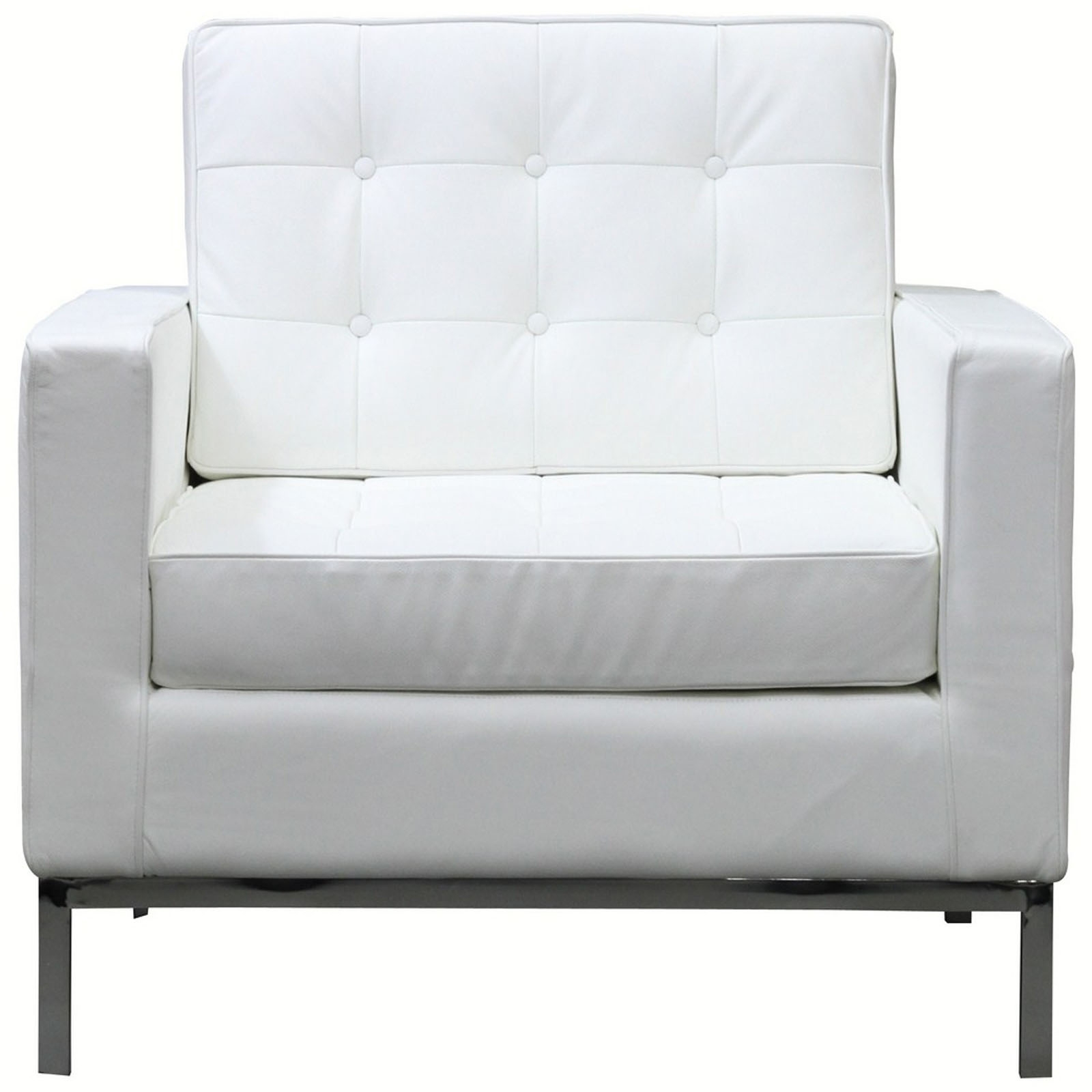 White Sofa Chair Upholstered Tufted Leather Armchair With Four Metal Legs Construct Furniture Questions Unique Sets Design Ideas For White Sofa Chairs (Image 15 of 15)