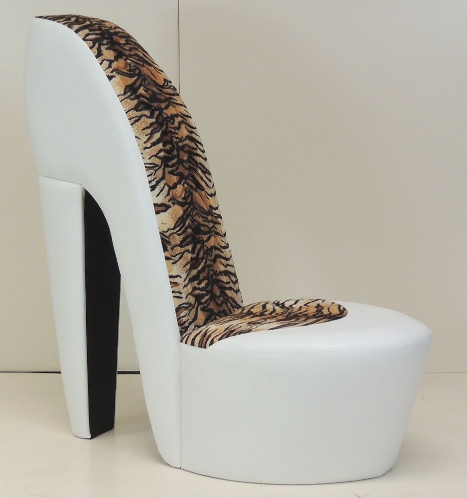 White Stiletto Shoe High Heel Chair Tiger Animal Print Inside Heel Chair Sofas (View 3 of 15)