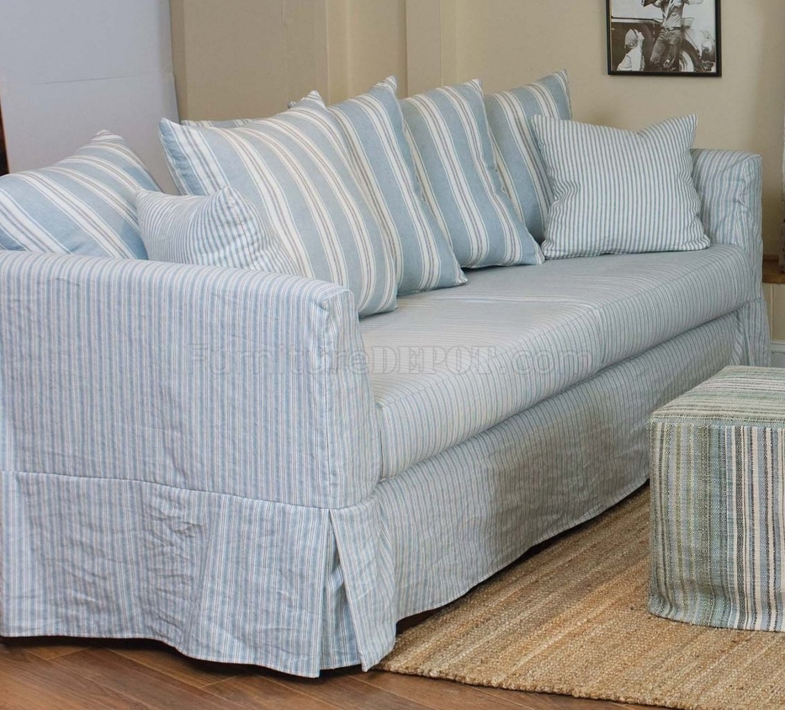 White Striped Fabric Classic Sofa Oversize Chair With Regard To Striped Sofas And Chairs (Image 15 of 15)