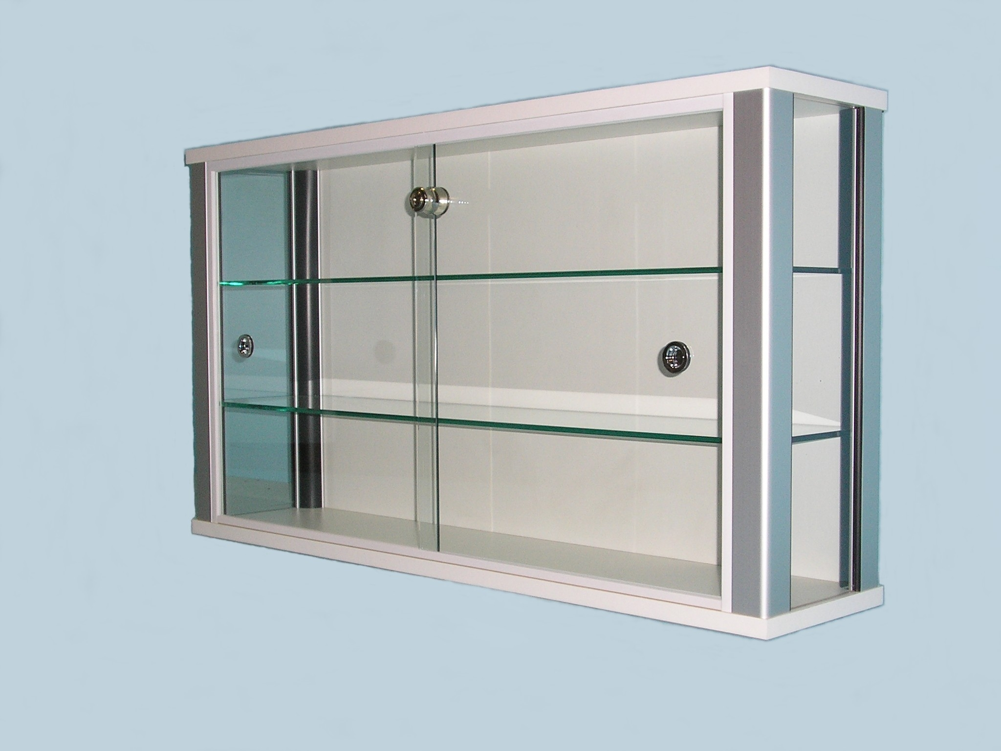 White Wall Mounted Glass Display Cabinet For Shops Designex Cabinets For Wall Mounted Glass Display Shelves (Image 15 of 15)