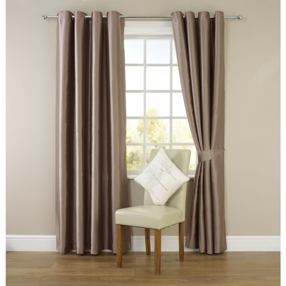 Wilko Faux Silk Eyelet Curtains Mink 167 X 183cm At Wilko With Regard To Brown Eyelet Curtains (View 23 of 25)