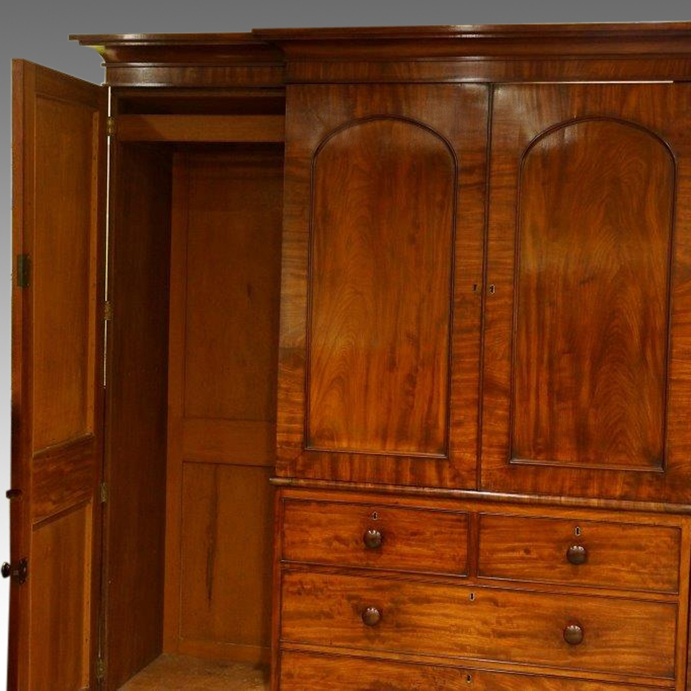 William Iv Mahogany 4 Door Break Front Wardrobe Now Sold Intended For Breakfront Wardrobe (Image 15 of 15)