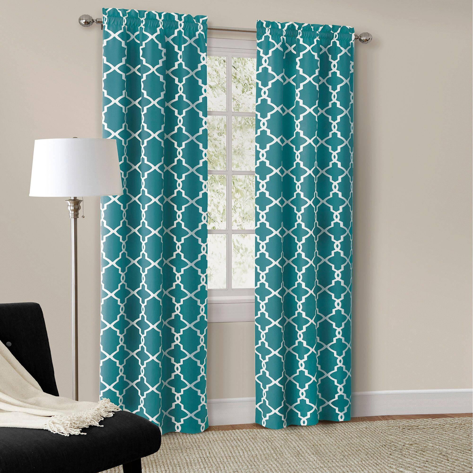 Window Blackout Drapes Walmart Curtains And 72 Inch With Turquoise Trellis Image 20