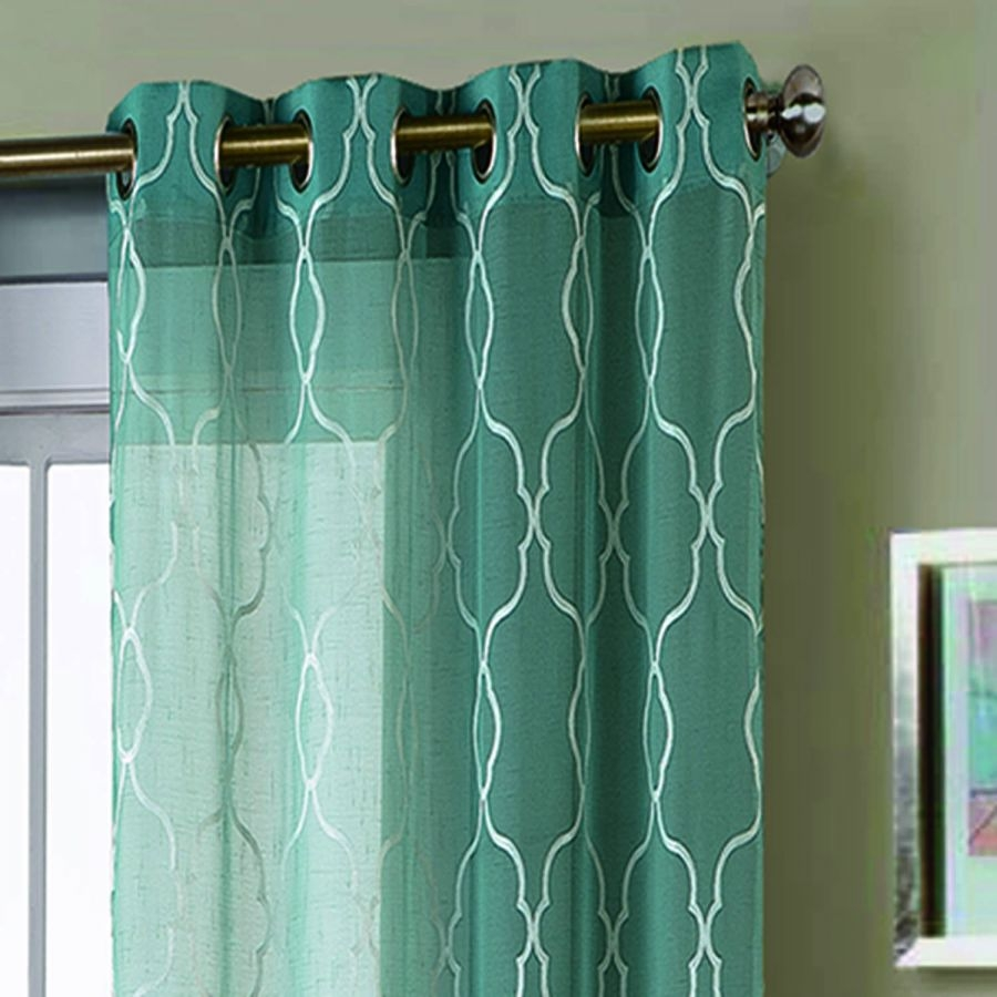 Window Elements Boho Embroidered Faux Linen Sheer Extra Wide 108 X Regarding Turquoise Trellis Curtains (Image 25 of 25)