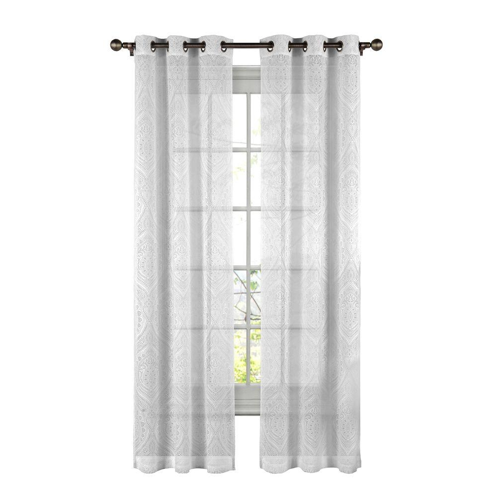 Window Elements Elena Cotton Blend Burnout Sheer 96 In L Grommet For Sheer White Curtain Panels (Image 25 of 25)