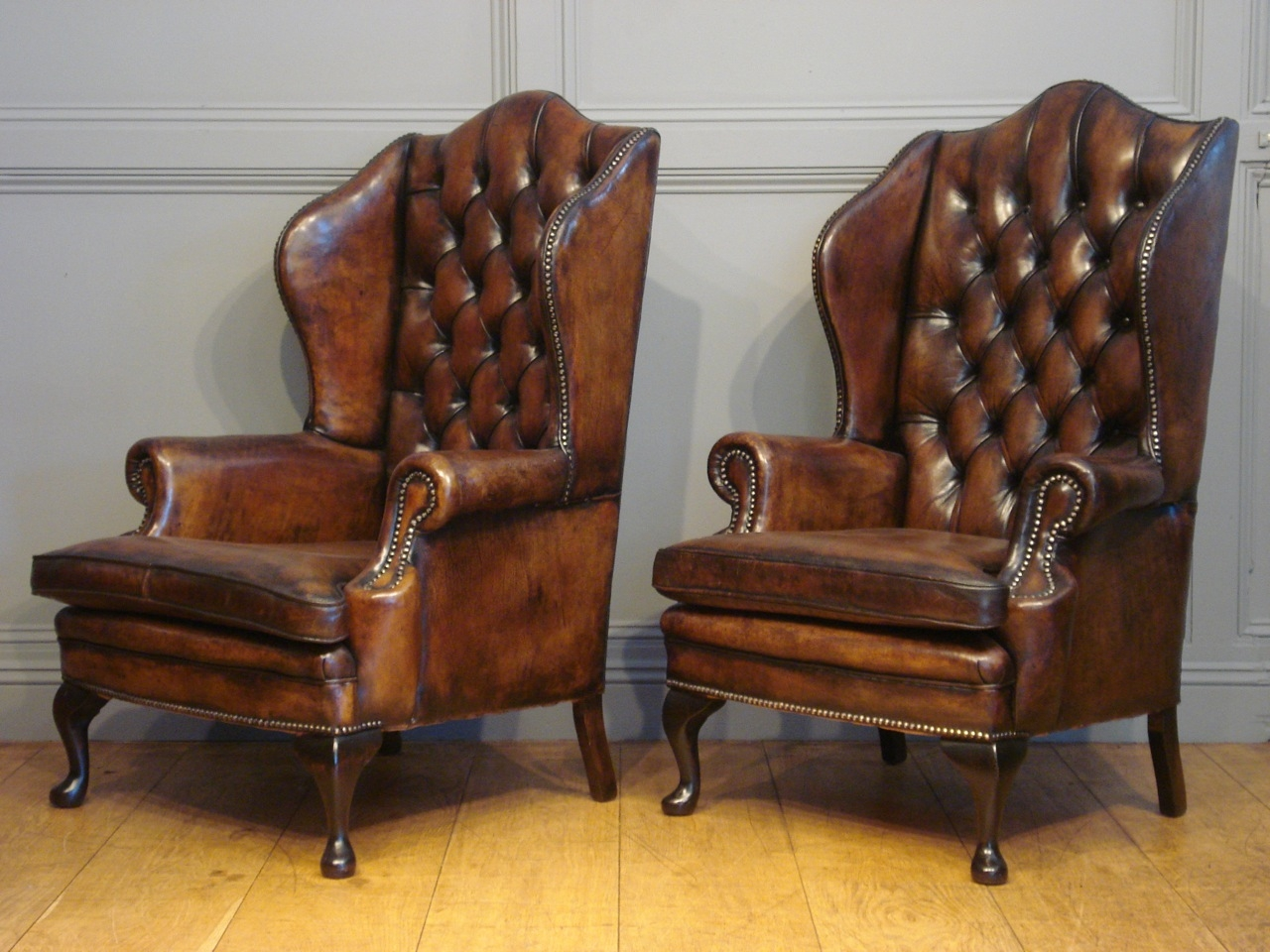 Winged Leather Armchair With Regard To Vintage Leather Armchairs (Image 15 of 15)