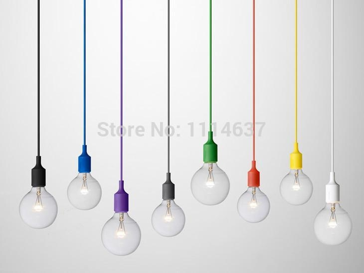 Wonderful Deluxe Coloured Pendant Cord Regarding Modern Colorful Pendant Lights E27 Silicone Lamp Holder 13 Colors (Image 24 of 25)