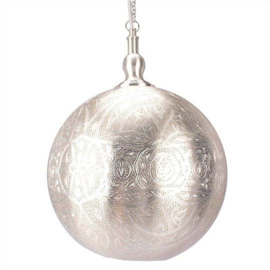Wonderful Elite Moroccan Punched Metal Pendant Lights Pertaining To Moroccan Perforated Metal Ball Pendant Light Large Pendants (View 10 of 25)