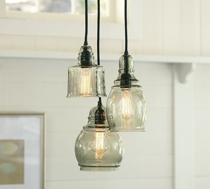 Wonderful Favorite Barn Pendant Lights Pertaining To Paxton Glass 3 Light Pendant Pottery Barn (Image 25 of 25)