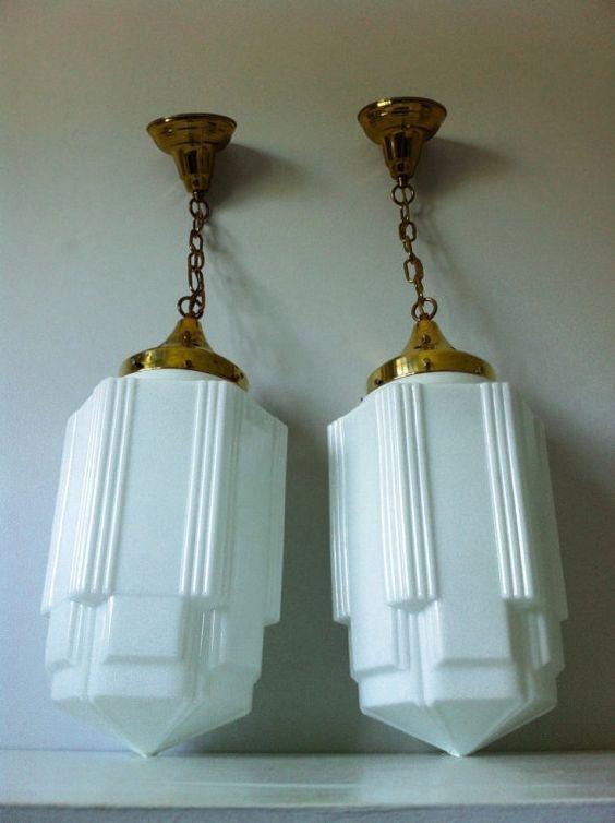 Wonderful Favorite Milk Glass Light Fixtures Pertaining To Art Deco Skyscraper Milk Glass Light Fixtures We Have One Of (View 12 of 25)