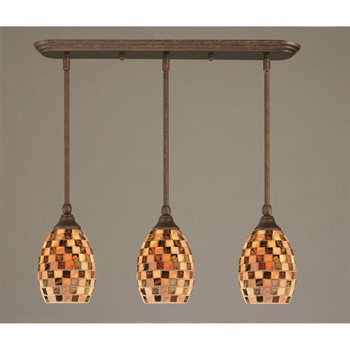 Wonderful Favorite Shell Light Shades Pendants Throughout Bronze Three Light Mini Pendant With Seashell Glass Shade Toltec (View 7 of 25)