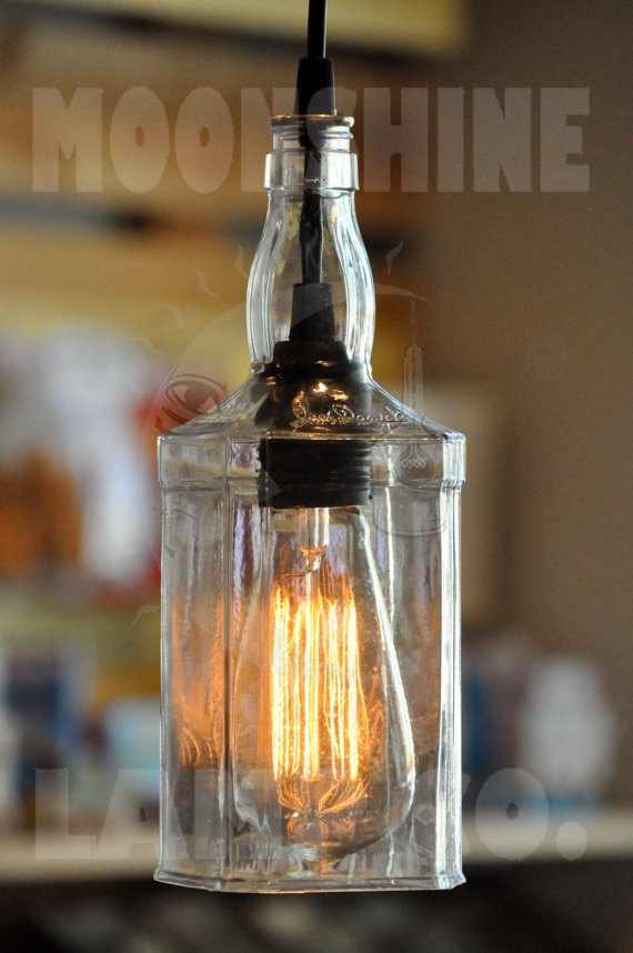 Wonderful High Quality Liquor Bottle Pendant Lights With Recycled Whiskey Hanging Pendant Bottle Light Lamp (Image 23 of 25)