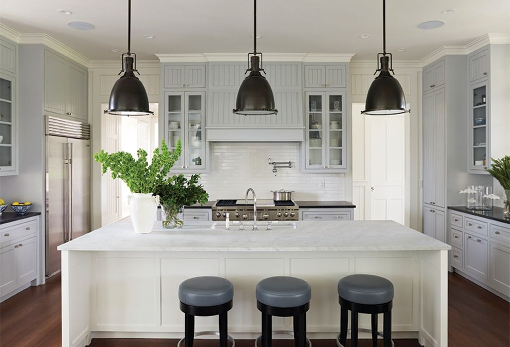 Wonderful Latest Benson Pendant Lights Within Traditional Kitchen With Complex Marble Counters The Corcoran (Image 22 of 25)