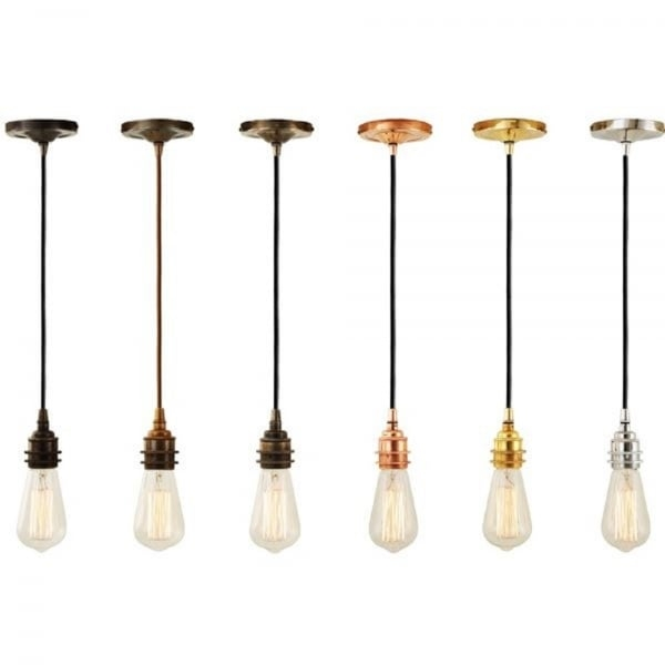 Wonderful New Bare Bulb Filament Pendants Inside Antique Brass Bare Bulb Pendant Suspension With Vintage Braid Cable (Image 24 of 25)