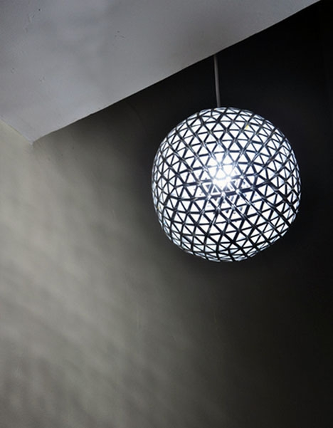 Wonderful Popular Disco Ball Pendant Lights With Regard To Diy Geodesic Disco Ball Lamp From Upcycled Drink Boxes (Image 24 of 25)