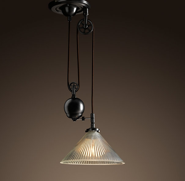 Wonderful Popular Double Pulley Pendant Lights Within Vintage Ceiling Lights That Are On Pullys Industrial Pulley (Image 21 of 25)