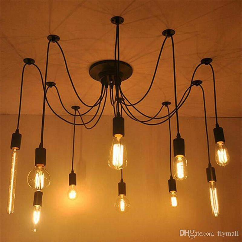 Wonderful Popular Pendant Light Edison Bulb Pertaining To 2017 68101216 Vintage Edison Bulbs Spider Pendant Lamp Home (Image 24 of 25)