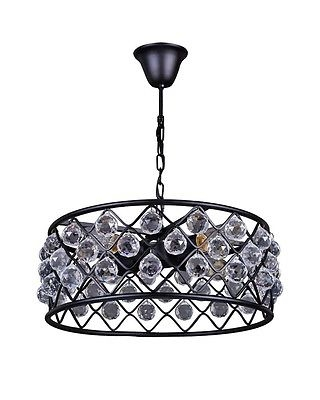 Wonderful Preferred Black Pendant Light With Crystals In Industrial Style 4 Lights Crystal Pendant Light Ceiling Fixture (Image 24 of 25)
