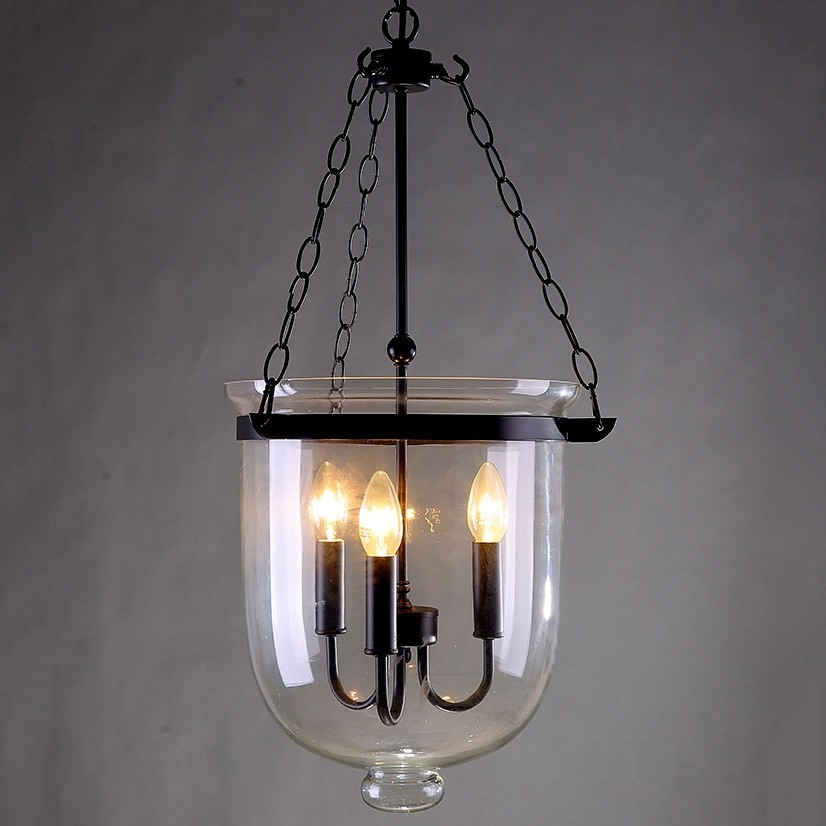 Wonderful Preferred Rustic Clear Glass Pendant Lights Intended For Retro Rustic Clear Glass Bell Jar Pendant Light With 3 Candle (Image 25 of 25)