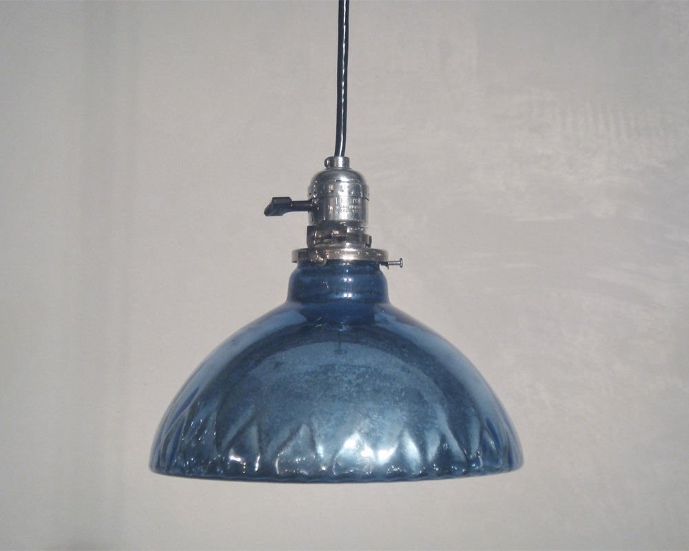 Wonderful Series Of Blue Mercury Glass Pendant Lights Pertaining To Blue Mercury Glass Oil Lamp Shade Pendant Lights At 1stdibs (Image 15 of 15)