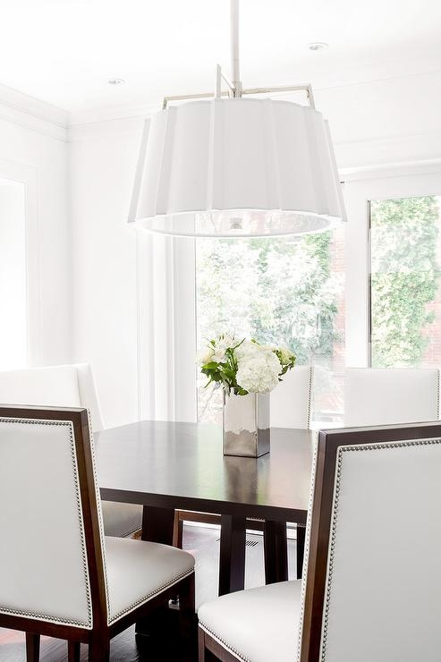 Wonderful Series Of Rectangular Drum Pendant Lights Throughout White Scalloped Drum Pendant Light With Brown Rectangular Dining (Image 24 of 25)