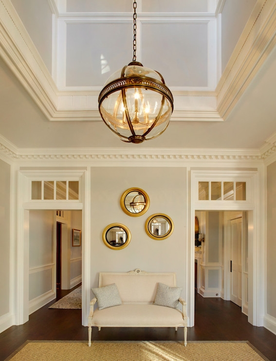 Wonderful Series Of Victorian Hotel Pendants Intended For Transitional Entrancefoyer Sherwin Williams Light French Gray (Image 25 of 25)