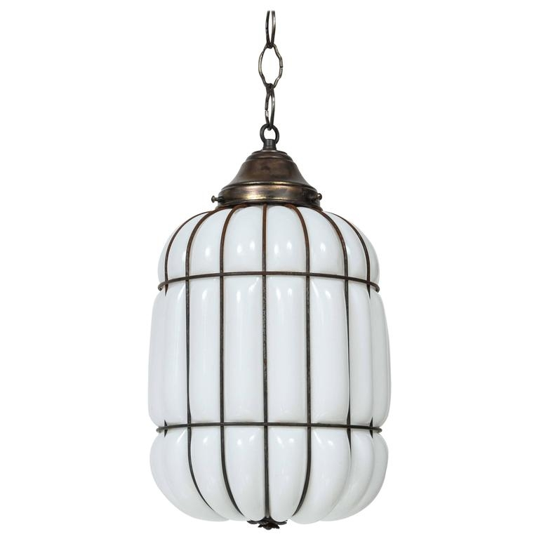 Wonderful Top Milk Glass Pendant Light Fixtures Pertaining To Art Deco Caged Milk Glass And Iron Pendant Light At 1stdibs (Image 25 of 25)