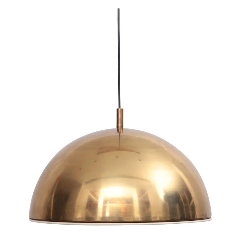 Wonderful Trendy 1960s Pendant Lights Within Huge Brass Pendant Lamp From 1960s Italy With White Enamel Inner (Image 23 of 25)