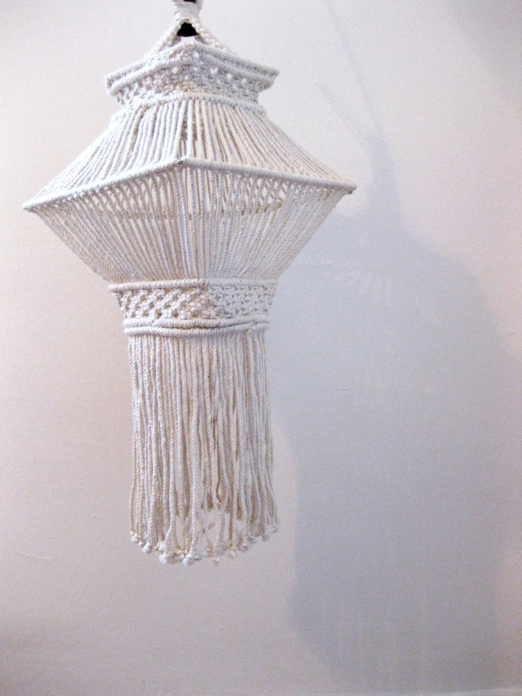 Wonderful Unique Macrame Pendant Lights With Regard To Vintage 1970s Hanging Macrame Pendant Via Etsy Lighting (Image 25 of 25)