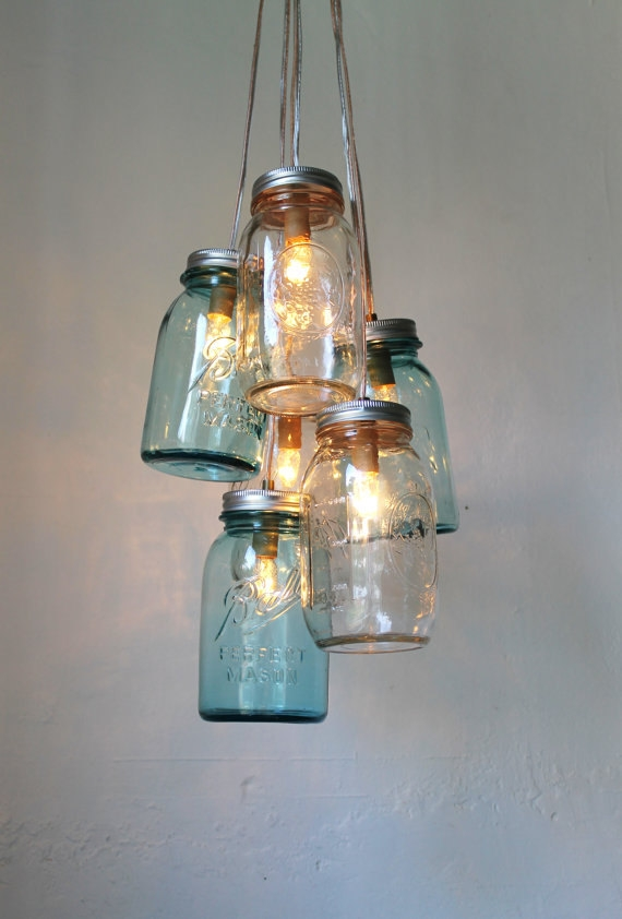 Wonderful Unique Mason Jar Pendant Lights Inside Ocean Sapphire Mason Jar Chandelier Mason Jar Light Modern (Image 25 of 25)
