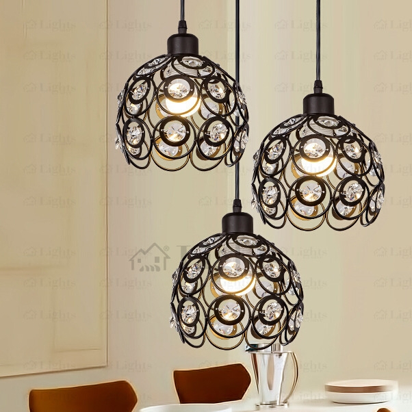 Wonderful Variety Of Black Pendant Light With Crystals With Regard To Black Wrought Iron And Crystal Three Light Modern Multi Pendant Lights (Image 25 of 25)