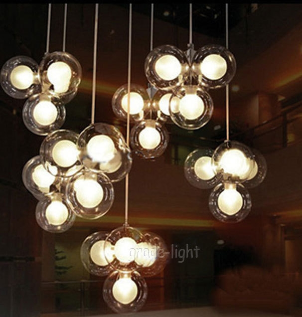 Wonderful Variety Of Cluster Glass Pendant Light Fixtures Pertaining To One Cluster4 S Clear Glass Balloon Bubbles Pendant Suspension (Image 25 of 25)