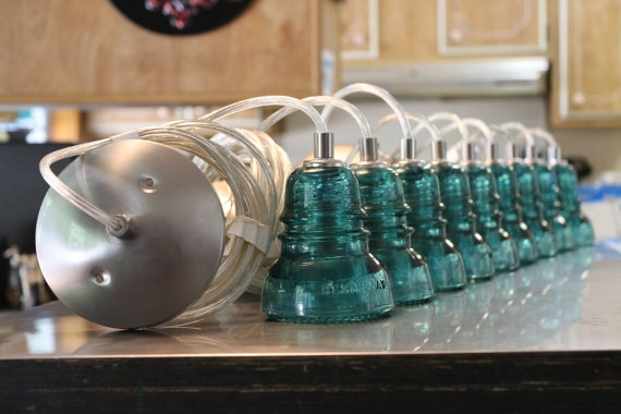 Wonderful Variety Of Railroad Pendant Lights With Regard To Set Of 3 Glass Insulator Pendant Lights Aqua Railroad (Image 25 of 25)