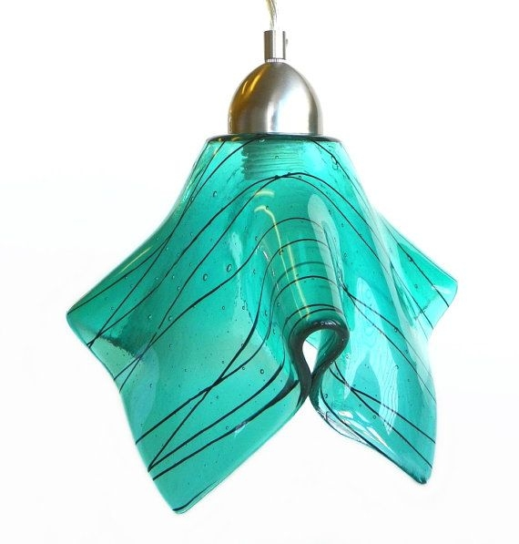 Wonderful Well Known Aqua Glass Pendant Lights Intended For 105 Best Sea Glass Lighting Images On Pinterest (Image 25 of 25)