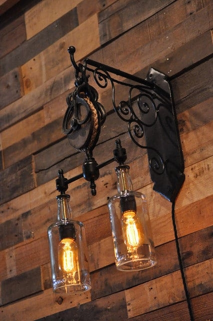 Wonderful Well Known Double Pulley Pendant Lights Regarding Double Whiskey Bottles Pulley Pendant Light Id Lights (Image 24 of 25)
