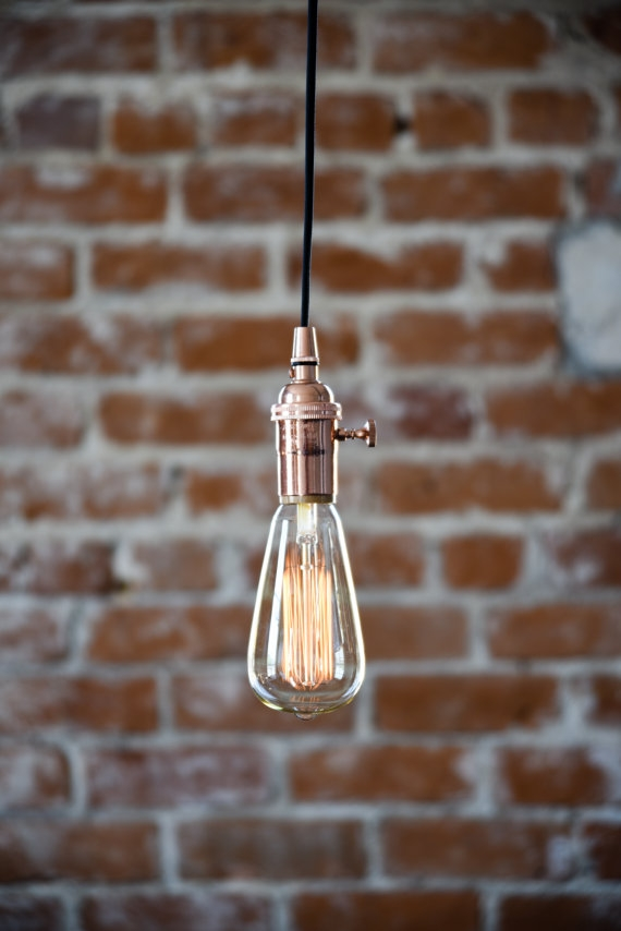 Wonderful Wellliked Bare Bulb Filament Single Pendants Pertaining To Industrial Plug In Pendant Light Copper Bare Bulb Socket Edison (Image 25 of 25)