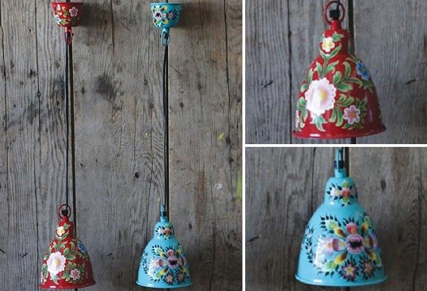 Wonderful Wellliked Mexican Pendant Lights Pertaining To 2900 Hand Painted Metal Pendant Lamps From Antiquefarmhouse (Image 24 of 25)
