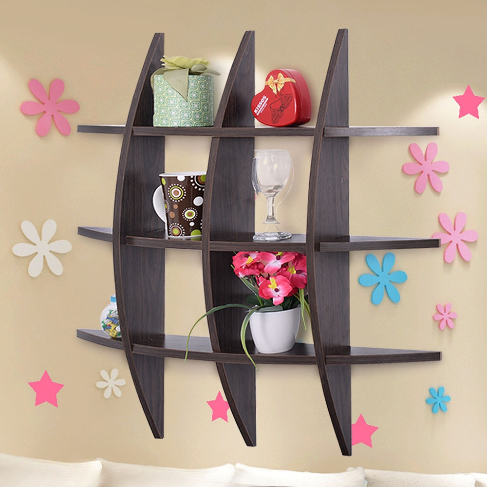 Wood Wall Shelves Cross Shelf Display Floating Storage Furniture Intended For Wall Shelves (Image 15 of 15)