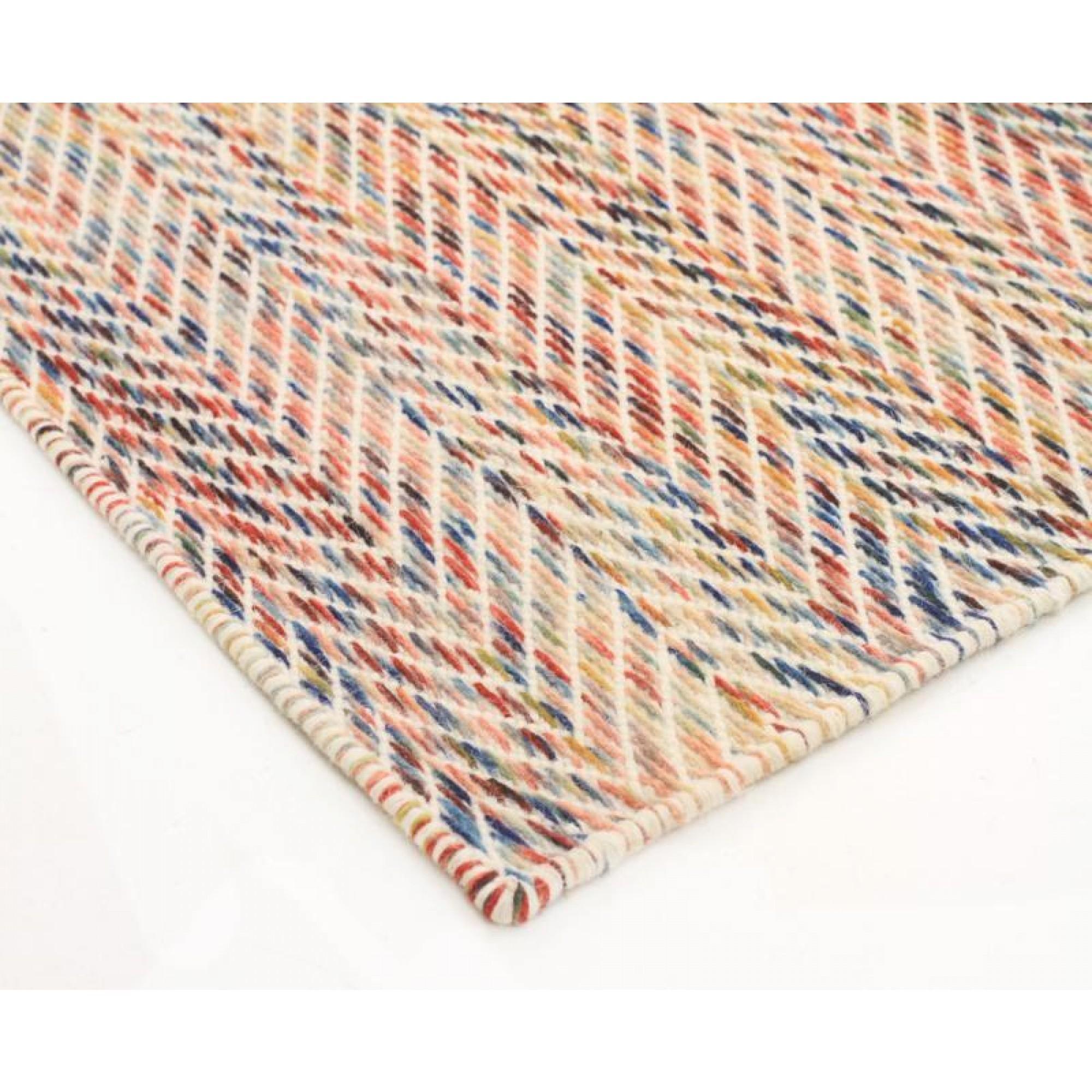 Wool Flat Weave Huish Herringbone Multi Coloured Floor Area Rug For MultiColoured Wool Rugs (Image 14 of 15)
