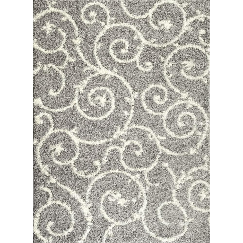 World Rug Gallery Soft Cozy Contemporary Scroll Light Graywhite 7 In Light Grey And White Rugs (Image 13 of 15)