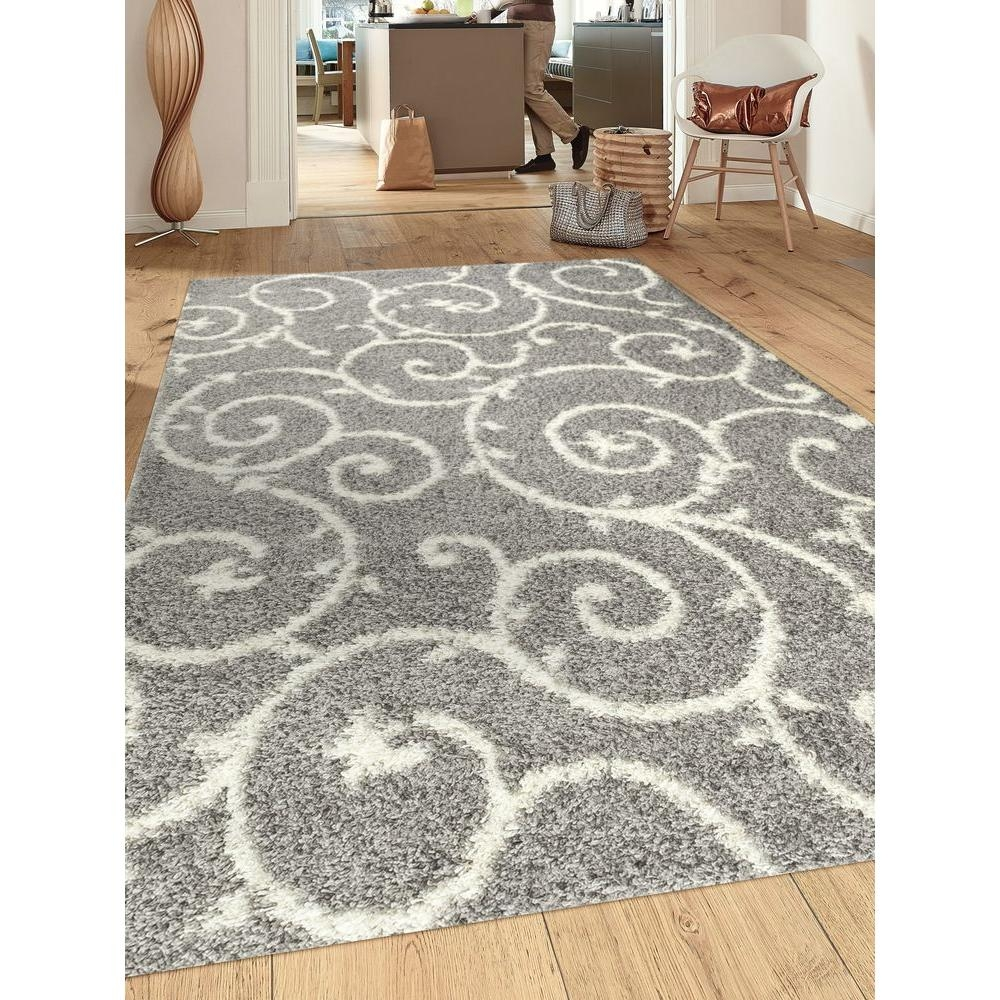 World Rug Gallery Soft Cozy Contemporary Scroll Light Graywhite 7 Throughout Light Grey And White Rugs (Image 14 of 15)