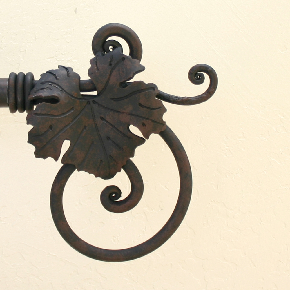 Wrought Iron Drapery Hardware Paso Robles Ironworks Intended For Metal Curtain Rod Finials (View 21 of 25)